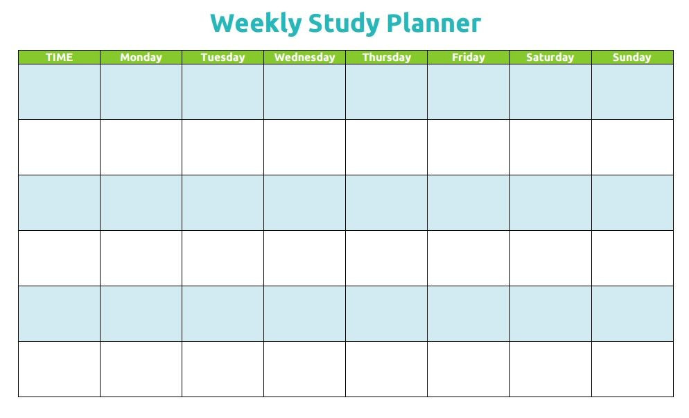 Study Plan Template for Students Printable Weekly Study Planner
