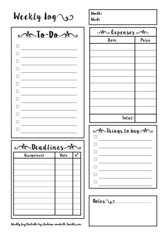 Study Plan Template for Students Study Planner Printable Tumblr