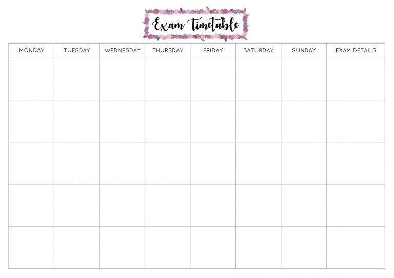 Study Plan Template Free Exam Timetable Printable – Emily Stu S