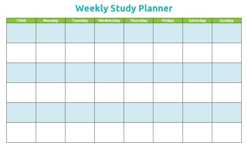 Study Plan Template Printable Weekly Study Planner