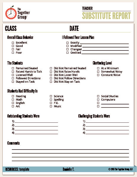 Substitute Teacher Plans Template Substitute Report Pre K 6th Grade Printables & Template