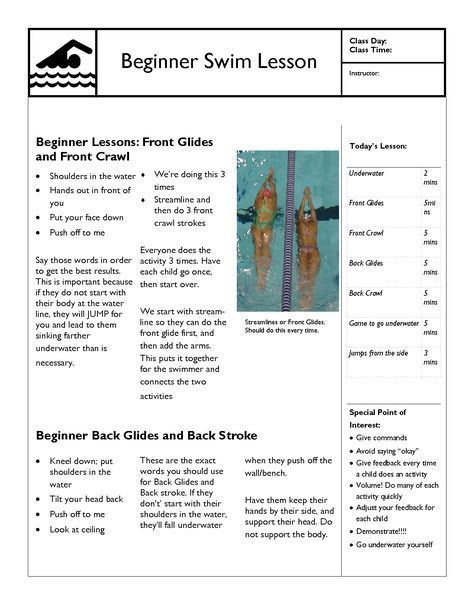 Swim Lesson Plan Template Fun and Effective Instruction