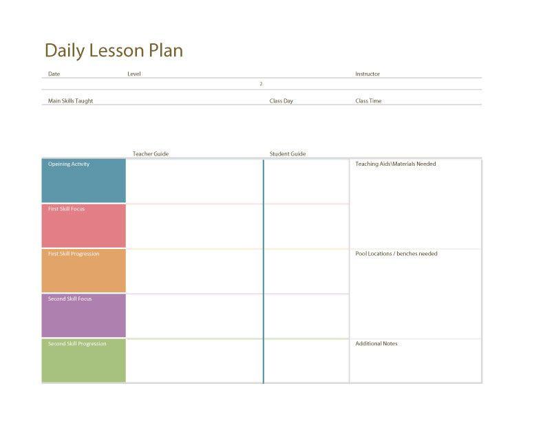 Swim Lesson Plan Template Swim Lesson Plan – General Template