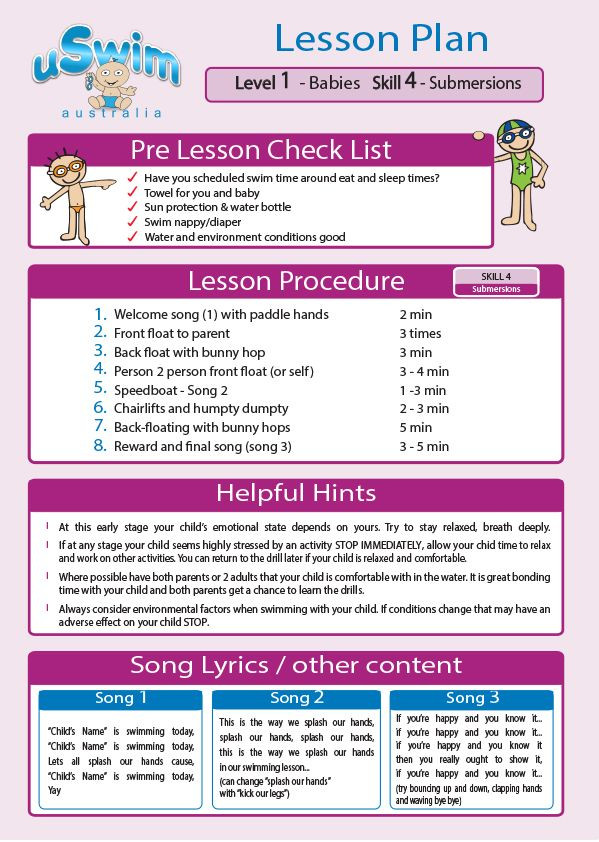 Swim Lesson Plan Template Uswim Level 1 Under 3 S Free Baby Swimming Lessons