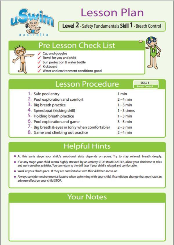Swim Lesson Plan Template Uswim Level 2 Over 3 S Free Children S Swimming Lessons