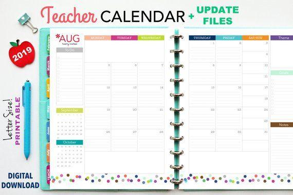 Teacher Planner Template 2019 Teacher Planner Printable Planner Inserts Pdf