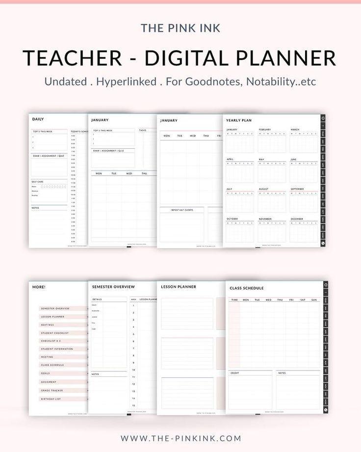 Teacher Planner Template Undated Teacher Planner School Planner Lesson Planner