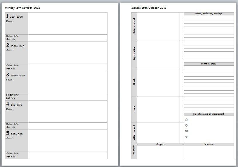 Teacher Weekly Planner Template Free Printable Teachers Planner Paul S House