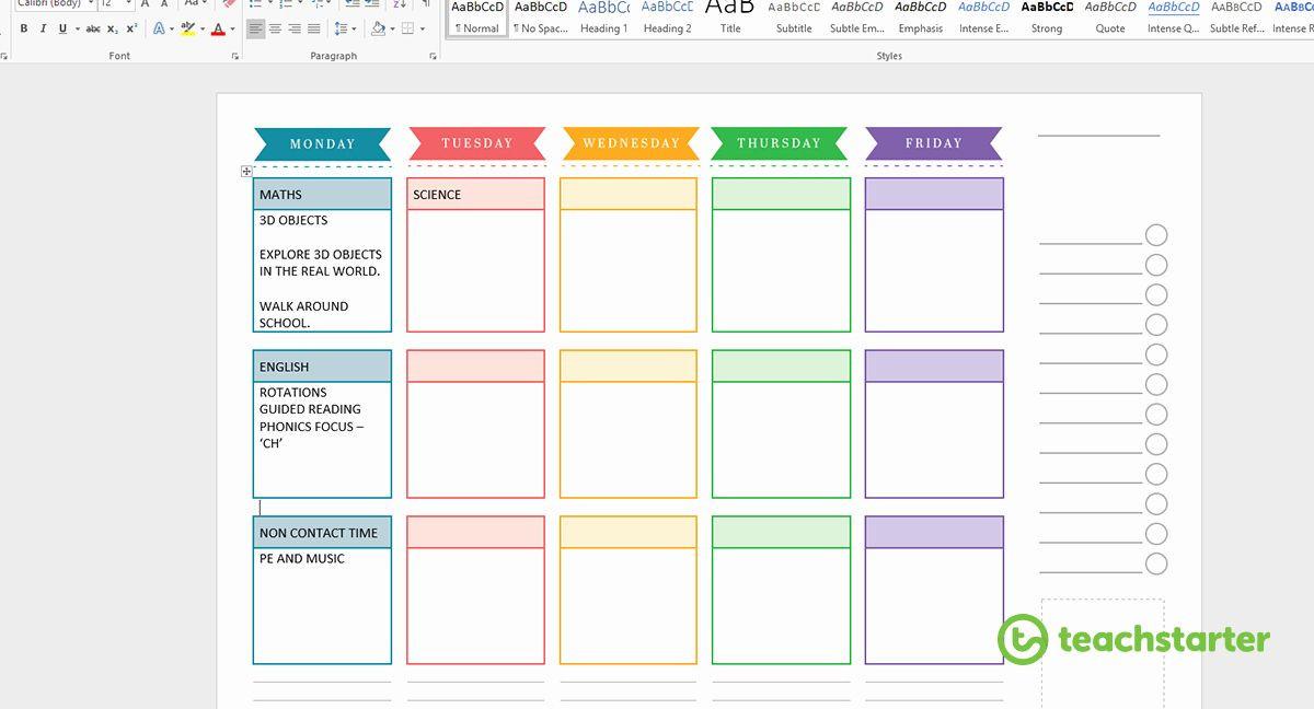 Teacher Weekly Planner Template Teacher Planning Book Template New Create Your Own Teacher