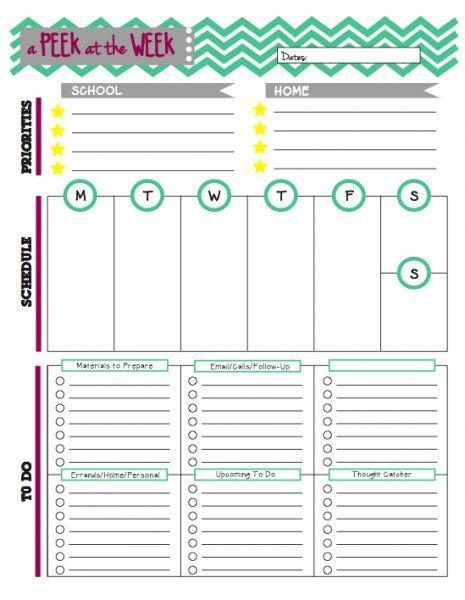 Teachers Planner Template Peek at the Week A Weekly Planner for Teachers