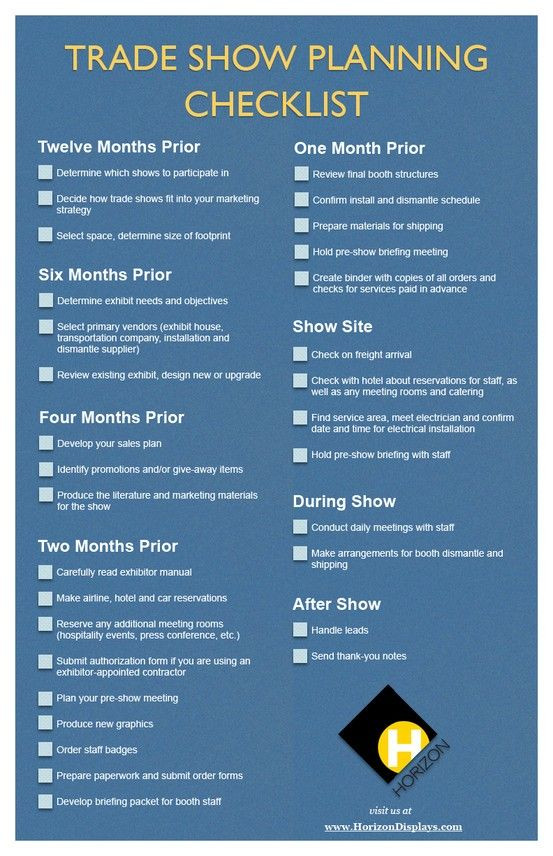 Trade Show Planning Template Excel Trade Show Planning Checklist Provided by Horizon Displays