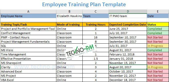 Training Plan Template Excel Employee Training Plan Template Lovely Employee Training
