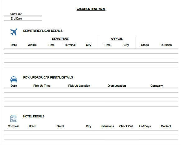 Travel Itinerary Planner Template Pdf Doc Excel Free & Premium Templates