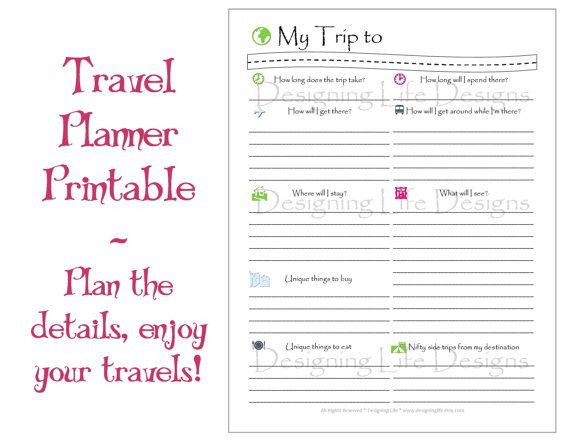 Travel Itinerary Planner Template Vacation Travel Planner Printable Pdf Sheets My Trip to