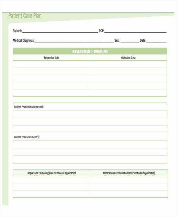 Treatment Plan Template Patient Care Plan Template Unique 11 Basic Care Plan