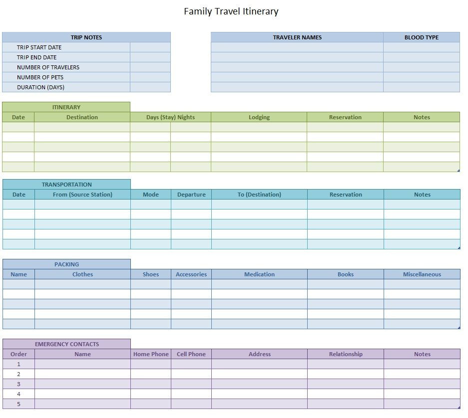 Trip Planner Template Excel Travel Itinerary for Family Template Sample