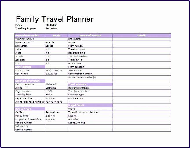 Trip Planner Template Excel Trip Planner Template Excel Lovely 8 Travel Plan Template