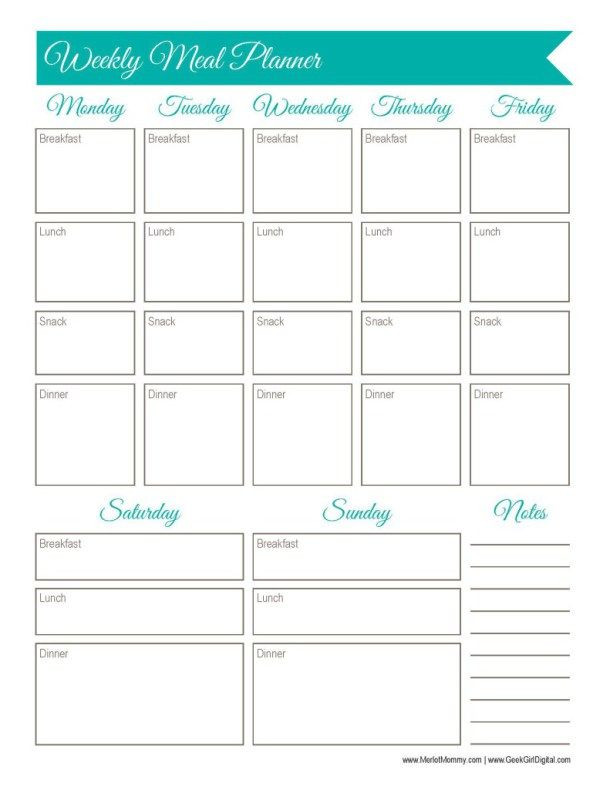 Two Week Meal Planner Template 30 Days Of Free Printables Weekly Meal Planner Worksheet