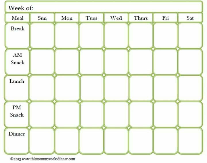 Two Week Meal Planner Template Meal Prep