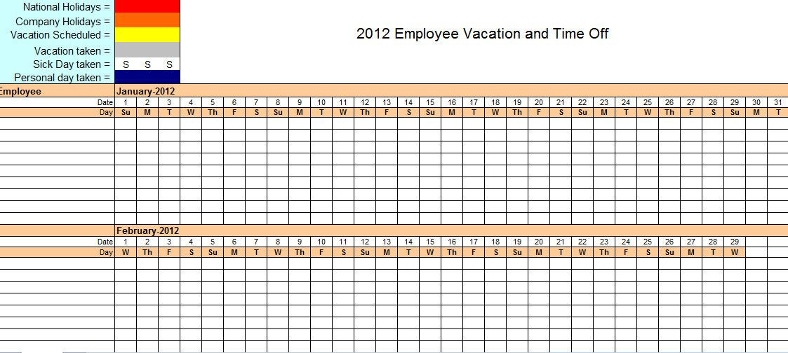 Vacation Planner Template Employee Vacation Tracking Excel Template