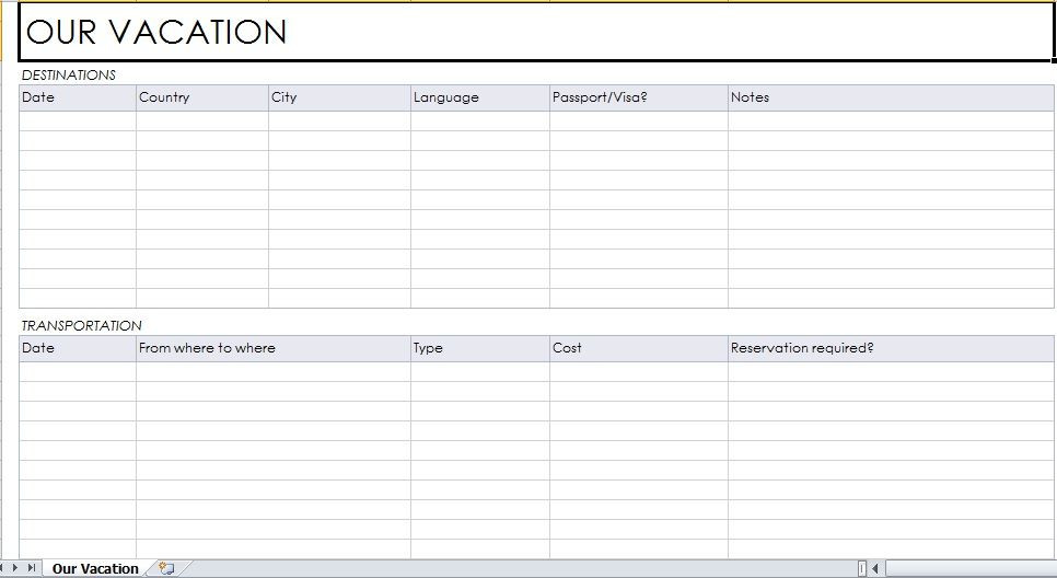 Vacation Planner Template Sample Vacation Planner Template Free Download