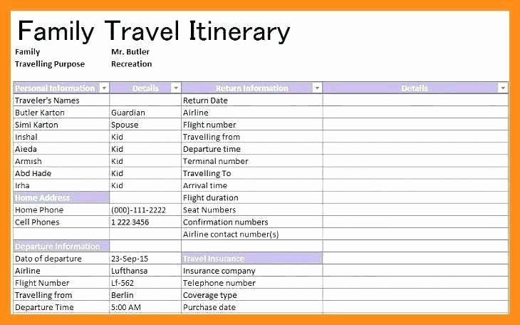 Vacation Planner Template Travel Itinerary Planner Template Inspirational 12 13 Family