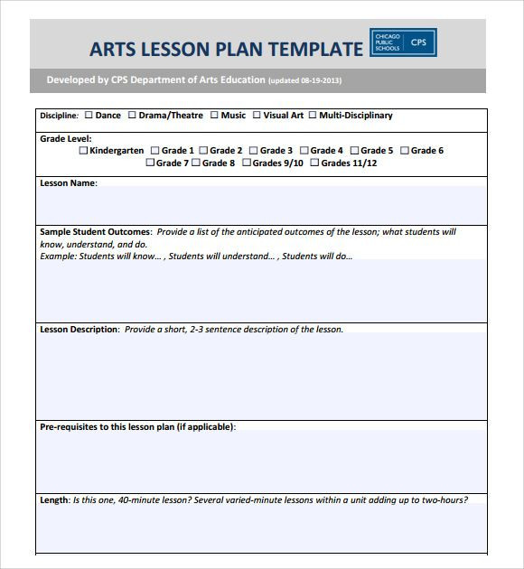 Visual Art Lesson Plan Template Image Sample Art Lesson Plans Template 7 Free Documents
