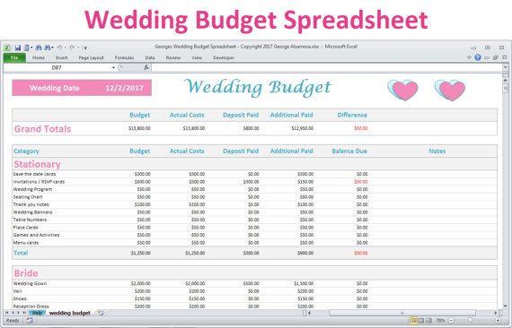 Wedding Budget Planner Template Wedding Bud Spreadsheet Planner Excel Wedding Bud