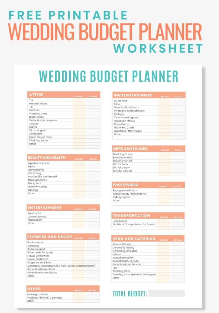 Wedding Budget Planning Template Free Printable Wedding Bud Planner Worksheet