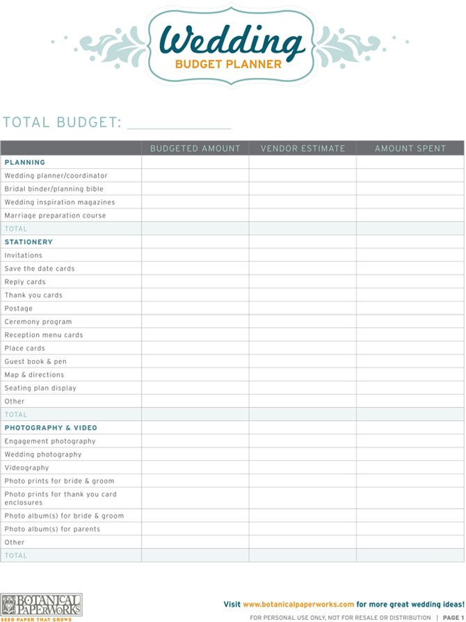 Wedding Budget Planning Template Free Printables Wedding Bud Planner