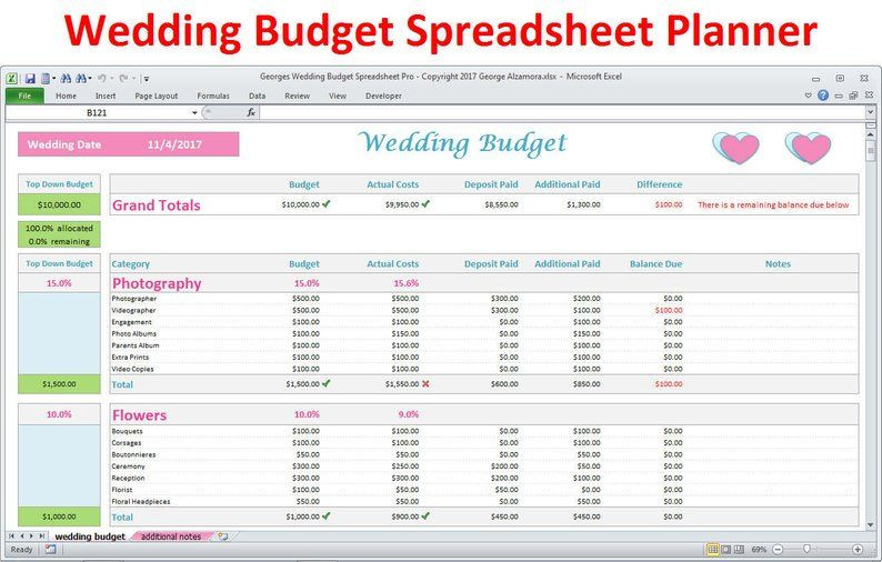 Wedding Budget Planning Template Wedding Planner Bud Template Excel Spreadsheet Wedding