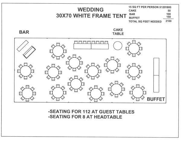 Wedding Floor Plan Template 30 by 70 Tent Layout