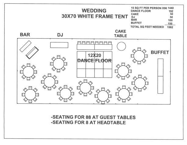 Wedding Floor Plan Template 30 X 70 Tent Layout for 90 with Round Tables and Dance Floor