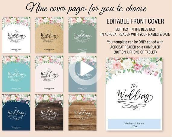 Wedding Planner Cover Page Template 85x11 Binder Diy organizer Planner Planning Binder