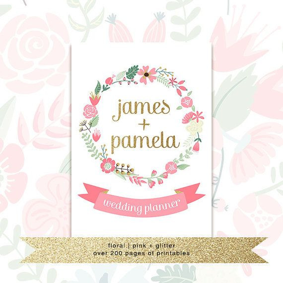 Wedding Planner Cover Page Template Printable Wedding Planner with Custom Cover