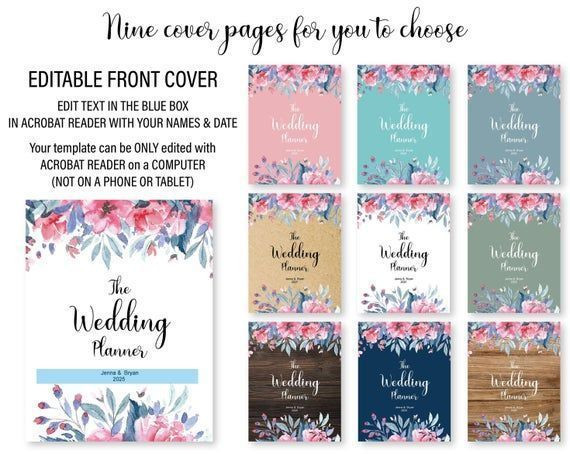 Wedding Planner Cover Page Template Wedding Planner Printable Wedding Planner Binder Wedding