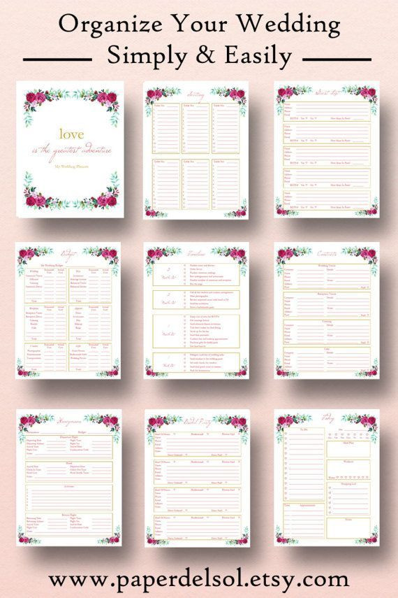 Wedding Planner Cover Page Template Wedding Planner Printable Wedding Planner Book Binder