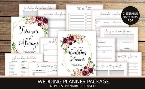 Wedding Planner Cover Page Template Wedding Planner Printable Wedding Planning Book Printable