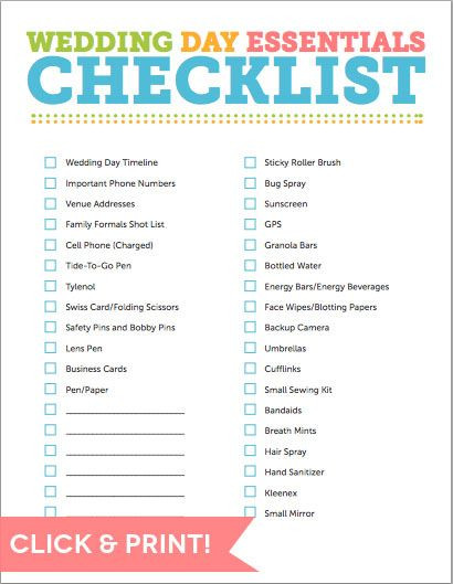 Wedding Planner Template Don T for Anything with This Day Of Wedding Checklist