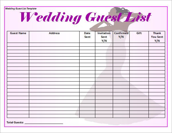 Wedding Planner Template Free Download 10 Wedding Guest List Templates Free Download for Word