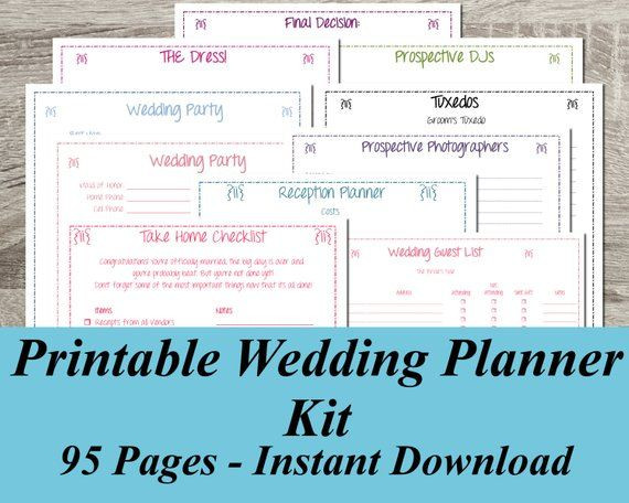Wedding Planner Template Free Download Instant Download Ultimate Printable Wedding Planner Kit 95
