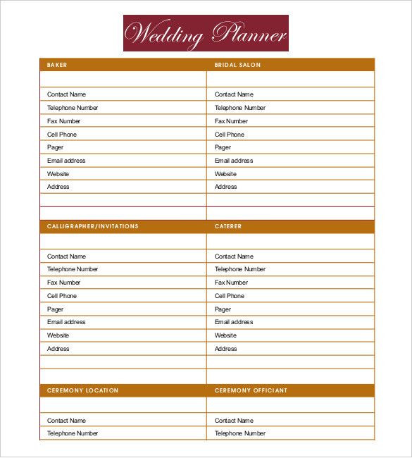 Wedding Planner Template Free Printable Wedding Planner Templates Best Wedding