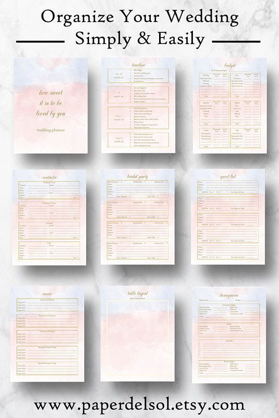 Wedding Planner Template Wedding Planner Downloadable Wedding Planner Book Pdf