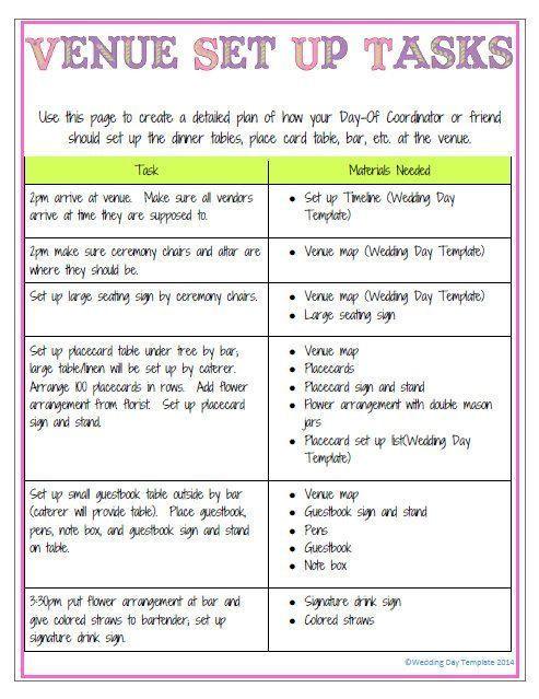 Wedding Planner Timeline Template Printable Editable Wedding Day Template Detailed Version