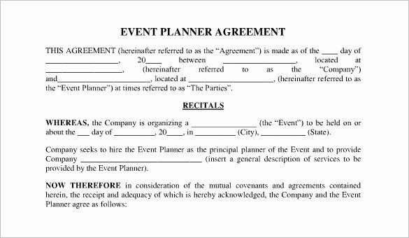 Wedding Planners Contract Template event Planning Contract Template Free Unique event Contract