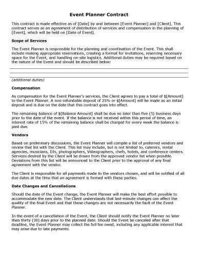 Wedding Planners Contract Template Sample Contract Templates • Hloom