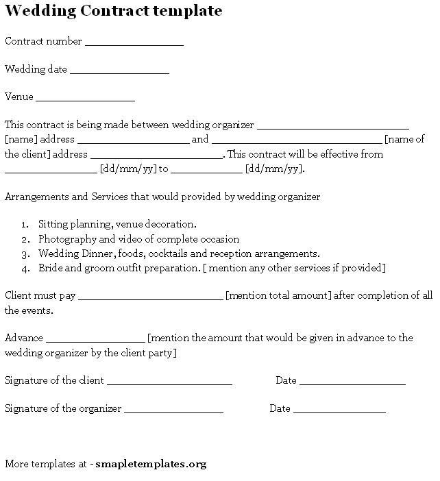 Wedding Planners Contract Template Wedding Contract Template