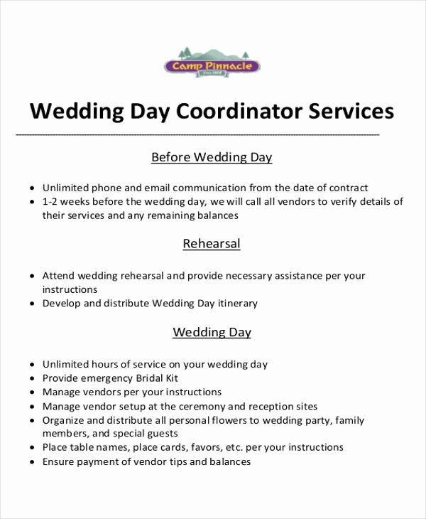 Wedding Planners Contract Template Wedding Coordinator Contract Fresh event Planner Contract