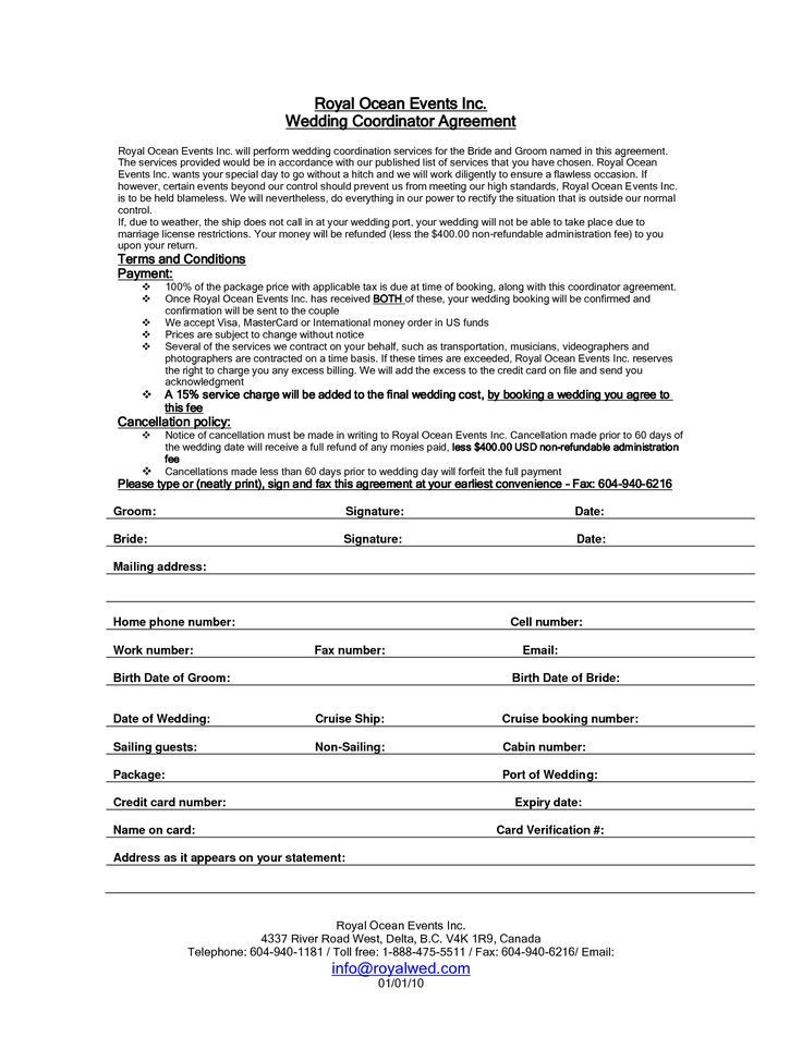 Wedding Planners Contract Template Wedding Planner Contract Sample Templates