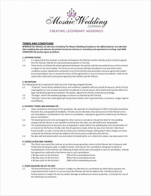 Wedding Planners Contract Template Wedding Planners Contract Template Luxury 5 Wedding Planner